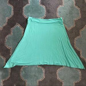 GAP Stretch Skirt M Jade Green Roll Over Waist